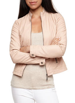 Faux Leather Ruched Jacket - BLUSH - 3087051067000