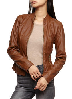 Faux Leather Ruched Jacket - COGNAC - 3087051067000