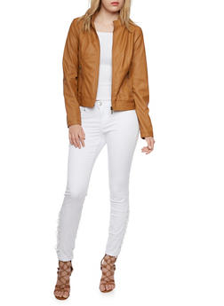 Faux Leather Jacket with Attached Hood - 3087051067170