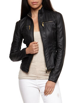 Faux Leather Ruched Jacket - BLACK - 3087051067292