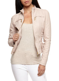 Faux Leather Ruched Jacket - BLUSH - 3087051067292