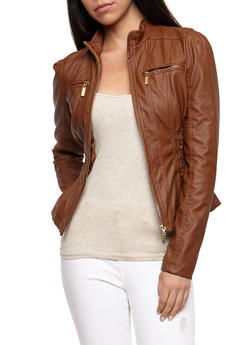 Faux Leather Ruched Jacket - COGNAC - 3087051067292