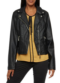 Faux Leather Moto Jacket with Zip Pockets - 3087051067472