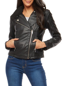 Sherpa Collar Faux Leather Jacket - 3087051067498