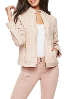 Faux Leather Quilted Jacket - BLUSH - 3087051067504