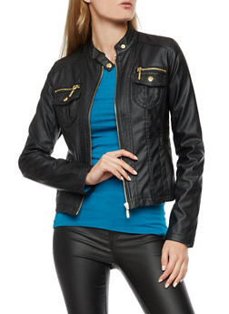 Faux Leather Zip Front Jacket - BLACK - 3087051067508