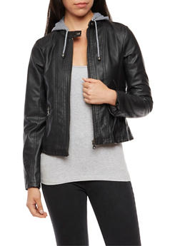 Faux Leather Knit Hooded Jacket - 3087051067526