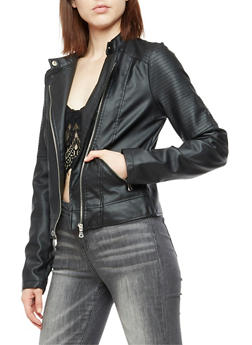 Faux Leather Moto Jacket - BLACK - 3087051067573