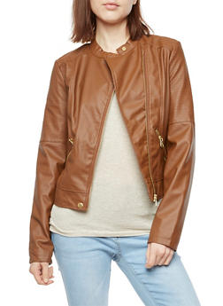 Faux Leather Moto Jacket - COGNAC - 3087051067573