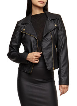 Faux Leather Zip Moto Jacket - BLACK - 3087051067579
