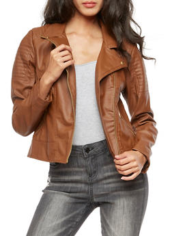 Faux Leather Zip Moto Jacket - COGNAC - 3087051067579