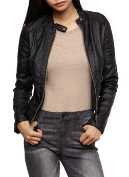 Faux Leather Zipper Front Jacket - BLACK - 3087051067582