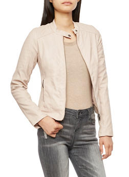 Faux Leather Zipper Front Jacket - 3087051067582