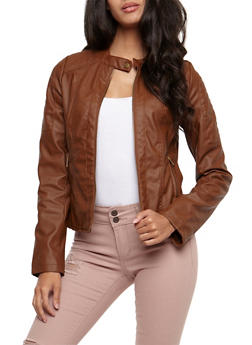 Faux Leather Zipper Front Jacket - 3087051067582