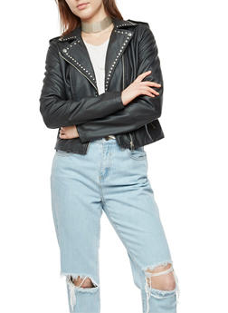Faux Leather Studded Moto Jacket - 3087051067585