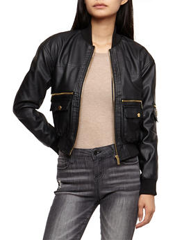 Faux Leather Bomber Jacket - BLACK - 3087051067592