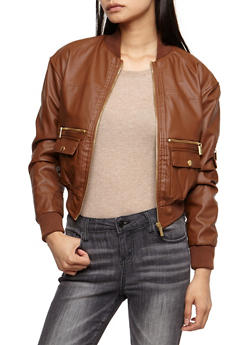 Faux Leather Bomber Jacket - 3087051067592