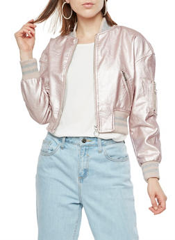Faux Leather Metallic Bomber Jacket - MAUVE - 3087051067594