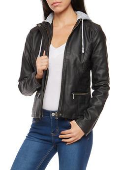 Faux Leather Moto Jacket with Fleece Hood - 3087051067640