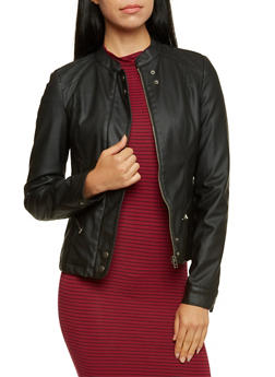 Faux Leather Jacket with Moto Shoulders - 3087051067730