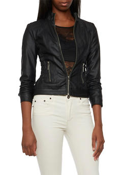 Faux Leather Jacket with Ruched Panels - 3087051068070