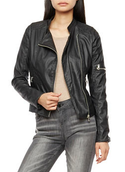 Faux Leather Stitched Moto Jacket - BLACK - 3087051068266