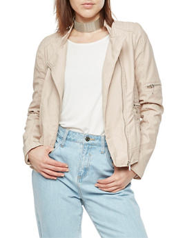Faux Leather Stitched Moto Jacket - BLUSH - 3087051068266