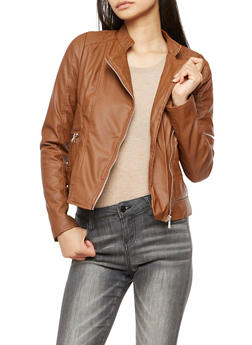 Faux Leather Stitched Moto Jacket - COGNAC - 3087051068266