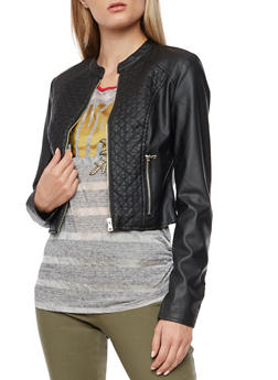 Quilted Faux Leather Zip Front Jacket - 3087051068422