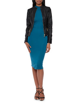 Faux Leather Jacket with Quilted Shoulders - 3087051069133
