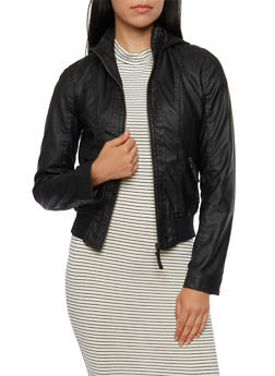 Hooded Faux Leather Jacket - 3087051069250