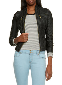 Zip Front Faux Leather Jacket - 3087051069264