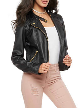 Faux Leather Stitched Moto Jacket - 3087051069600
