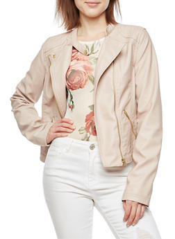 Faux Leather Stitched Moto Jacket - BLUSH - 3087051069600