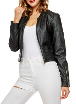 Faux Leather Zip Sleeve Jacket - 3087074002209