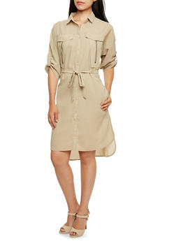 Belted Shirt Dress with Zipper Accents - 3090038347711