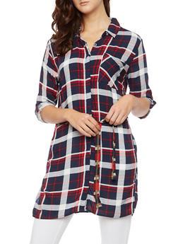 Plaid Shirt Dress with Belt - NAVY - 3090038348579