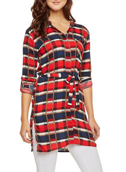 Plaid Shirt Dress with Belt - RED - 3090038348579