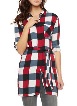 Plaid Shirt Dress with Belt - WINE - 3090038348579