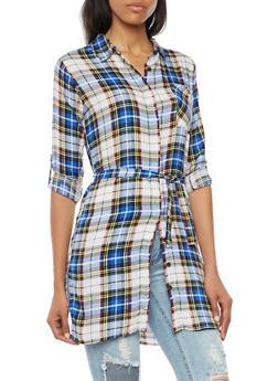 Plaid Shirt Dress with Belt - ROYAL - 3090038348579