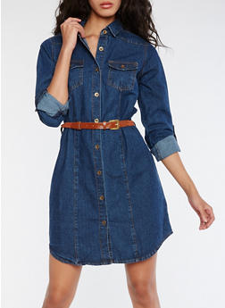 Long Sleeve Belted Denim Shirt Dress - 3090038348758