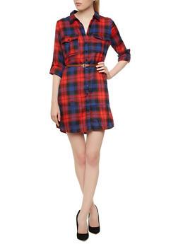 Buttoned Flap Pocket Convertible Sleeve Plaid Dress With Skinny Belt,BLACK,medium