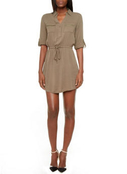 Button-Down Shirt Dress with Convertible Sleeves,OLIVE,medium