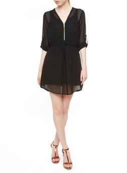 Zip Front Chiffon Tunic Dress with Sheer Back,BLACK,medium