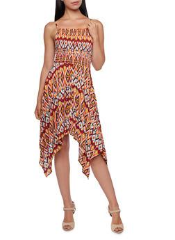Ikat Print Sundress with Sharkbite Hem - 3090051062612