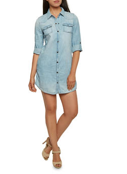 Faded Denim Mini Shirt Dress with Button Front - 3090051062719