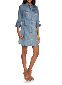 Acid Wash Denim Shirt Dress - 3090051062724