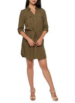 Shirt Dress with Drawstring Waist - 3090051062733