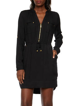 Mandarin Collar Shirt Dress - BLACK - 3090051062790