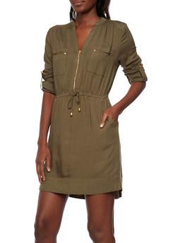 Mandarin Collar Shirt Dress - 3090051062790